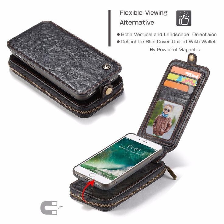 Caseme Multifunctional Detachable Zipper Wallet Card Slots Case For iPhone 7 Plus & 8 Plus