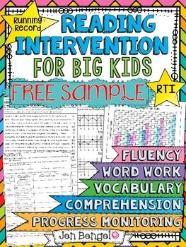 FREE!  This is a free sample of the Reading Intervention Program for Big Kids available from Jen Bengel at Out of This World Literacy.
