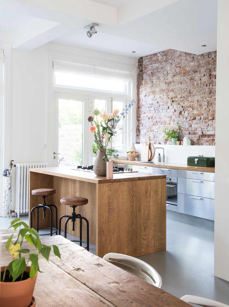 bakstenen wandje creëren in de keuken brengt je huis tot leven!