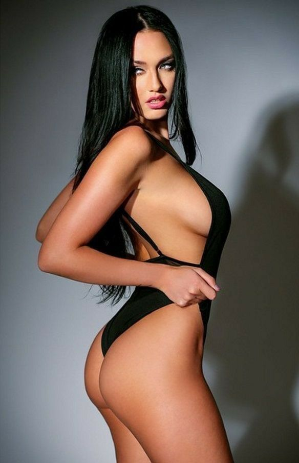 Hot Babe In A Black Swimsuit