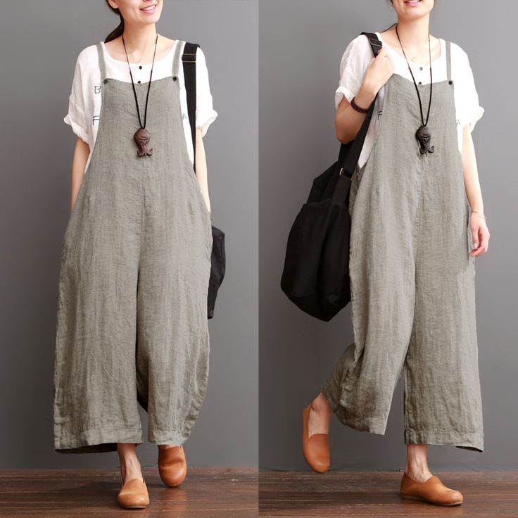 Gray Cotton Linen Overalls Summer Trousers