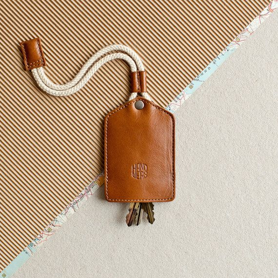 Leather keychain key holder. keychain key fob key ring by HANDWERS