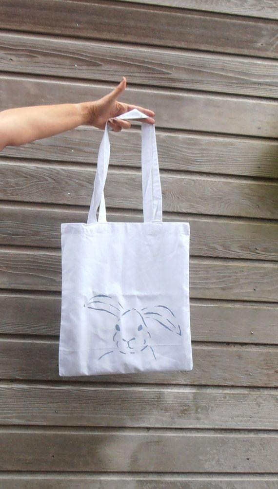 witte katoenen tas met konijn tote bag boodschappentas werk