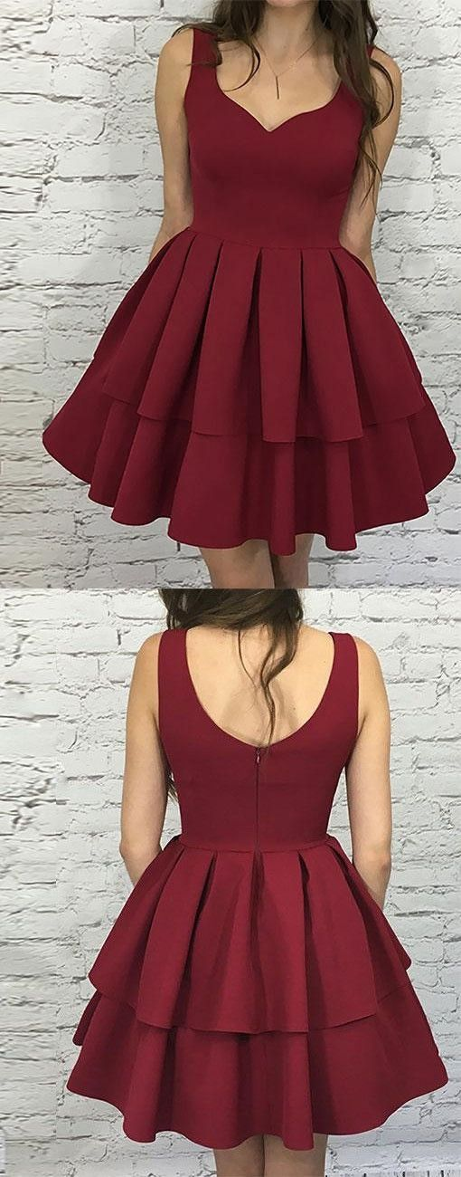 Cute homecoming dress,burgundy homecoming dress,short prom dress,burgundy evening dress,2018 homecoming dress