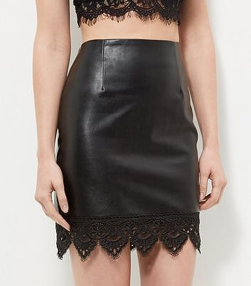 Womens black cameo rose leather-look crochet trim skirt from New Look - £19.99 at ClothingByColour.com
