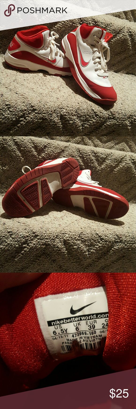 Nike high top basketball shoes. Red and white Nike shoes. These are very soft inside and soles look new. Only worn in gym. Nike Shoes Athletic Shoes