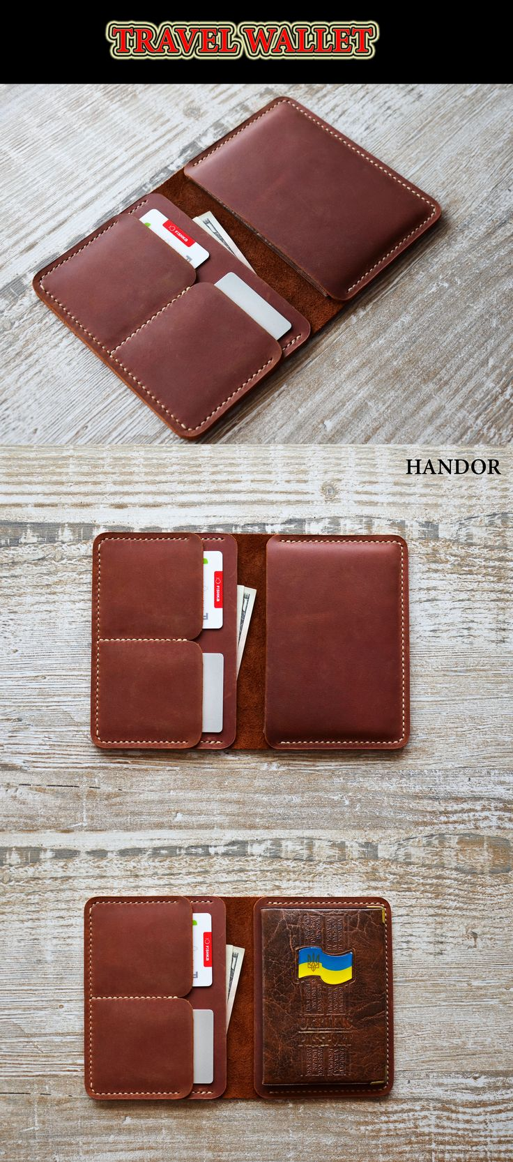 Leather Passport Holder  Traveling ? Travel in style with a passport wallet! This handmade full grain distressed leather wallet is perfect keep all your documents and currencies in order. It is light, practical and elegant, made of soft leather, very durable and created with love. Buying from us wallet you get a guarantee for the whole life, All free repairs.