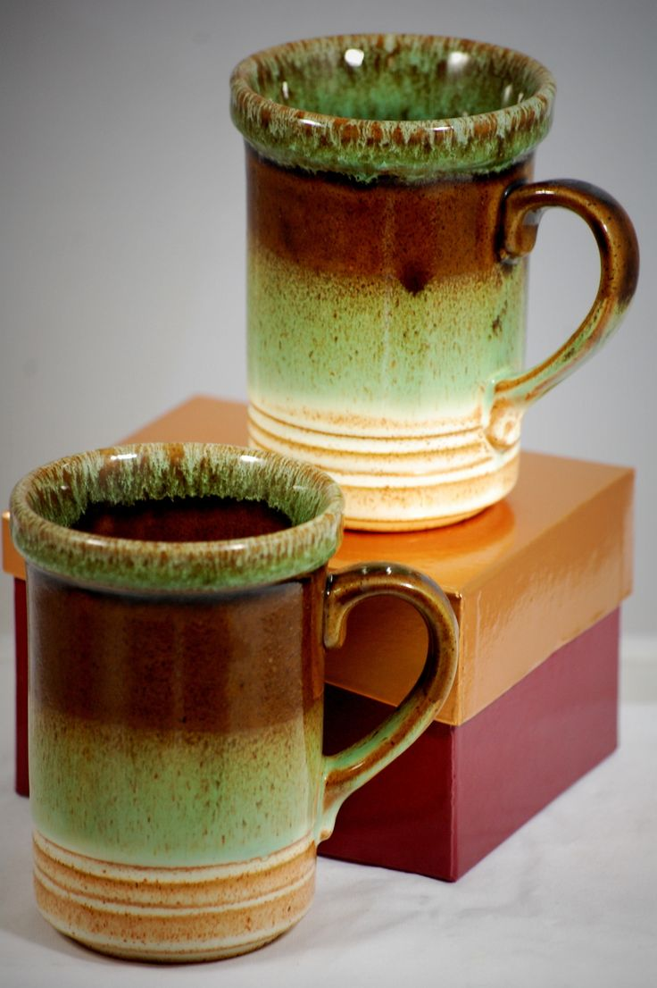 Ashdale Pottery Products Drip Glaze Mugs Made In England