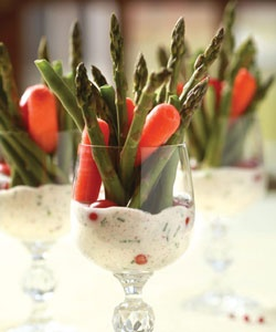 Individual Appetizer Glasses... Pink Peppercorn Yogurt Dip: 1/2 cup yogurt 1/2 cup mayonnaise or sour cream 1 tablespoon crushed red (pink) peppercorns 1/4 cup chopped chives 1 teaspoon chopped fresh thyme 2 cloves garlic, finely minced 1 teaspoon salt