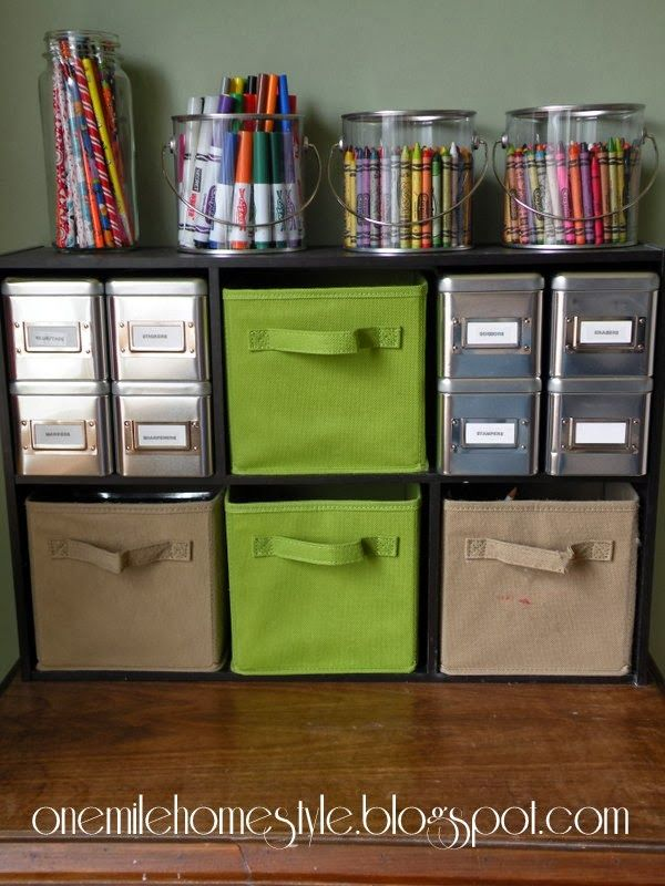 Kids art supply organization, corral the mess, but keep it easy so they can still pick it up when they are done. | One Mile Home Style