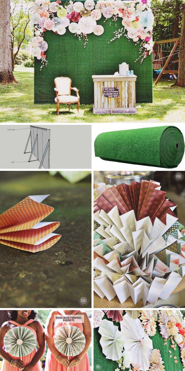 48 DIY Pinwheels And Fake Flowers Photo Booth Backdrop Tutorial