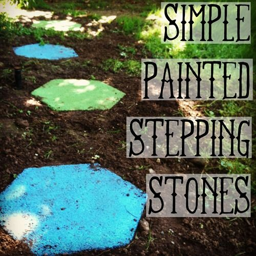 Spray Painted Stepping Stones.This simple DIY project adds so much color and happiness to your landscaping/yard.