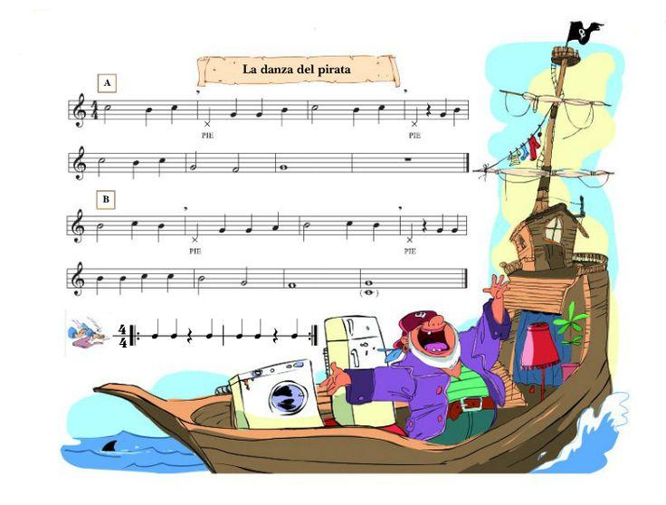 """Hola a tod@s   Mis chicos de 4º de primaria han comenzado con esta canción titulada """"Danza del pirata"""".  Aquí os dejo la partitura y el víde..."""