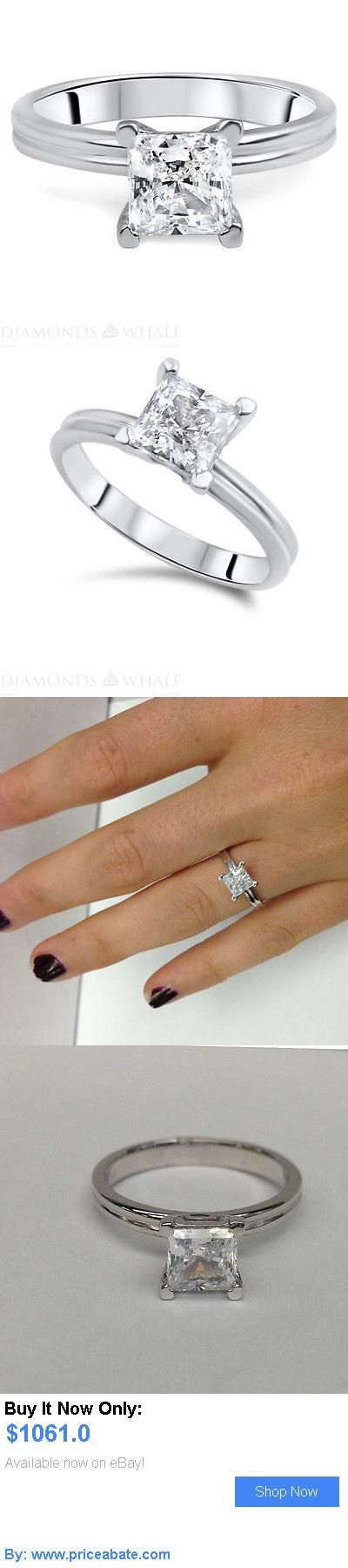 Wedding rings: 0.63 Ct Diamond Solitaire Engagement Ring Princess Cut D Si 14K White Gold BUY IT NOW ONLY: $1061.0 #priceabateWeddingrings OR #priceabate