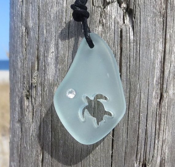 Aqua Sea Glass Turtle Blue Necklace Crystal by Wave by WaveofLife