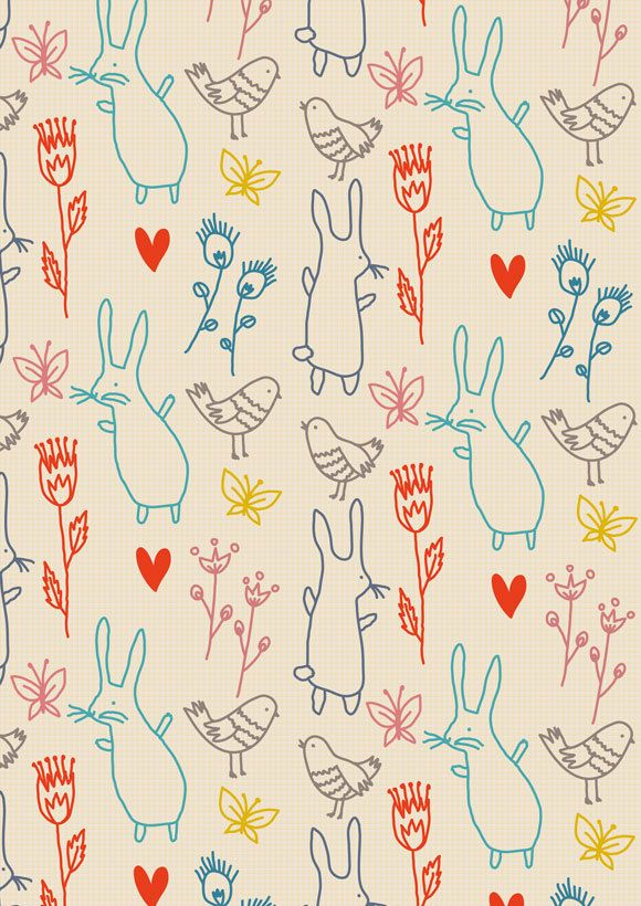 Patterns for wallpapers by little cube studio for children's design, via Behance