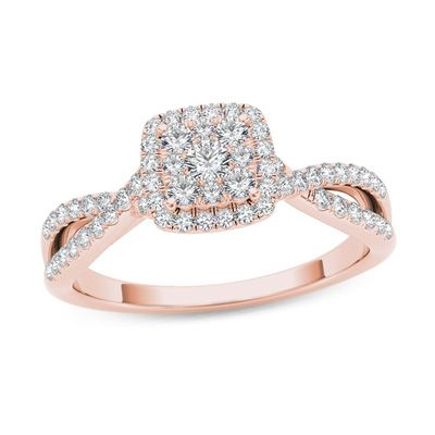 1/2+CT.+T.W.+Composite+Diamond+Square+Frame+Twist+Engagement+Ring+in+14K+Rose+Gold