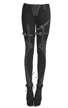 PUNK RAVE BUCKLE AND LACE UP WORTEX TROUSERS