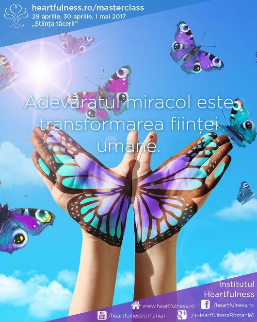 """Adevăratul miracol este #transformarea_ființei_umane. 29 aprilie, 30 aprilie, 1 mai 2017 - #masterclass_în_meditație """"Știința tăcerii"""". Detalii aici: www.heartfulness.ro/masterclass #heartfulness #daaji Meditatia Heartfulness Romania"""