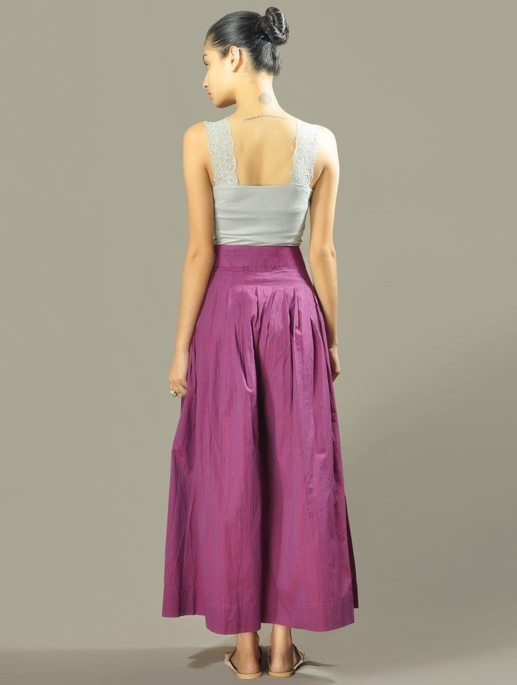 Purple Pleated Cotton Palazzos at Jaypore.com