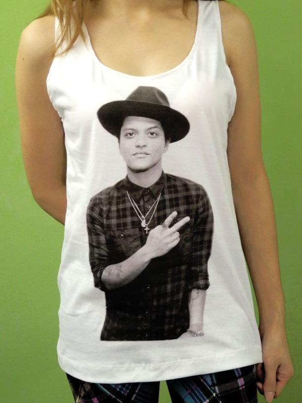 Bruno Mars Cowboy Hat Top 10 Billboard - Womens Tank Top Printed White T Shirt Pop Rock Singer Fan Light and Soft. $15.99, via Etsy.
