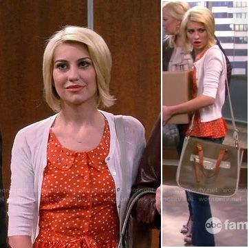 Riley's orange polka dot top with peter pan collar on Baby Daddy. Outfit Details: http://wornontv.net/17409/ #BabyDaddy