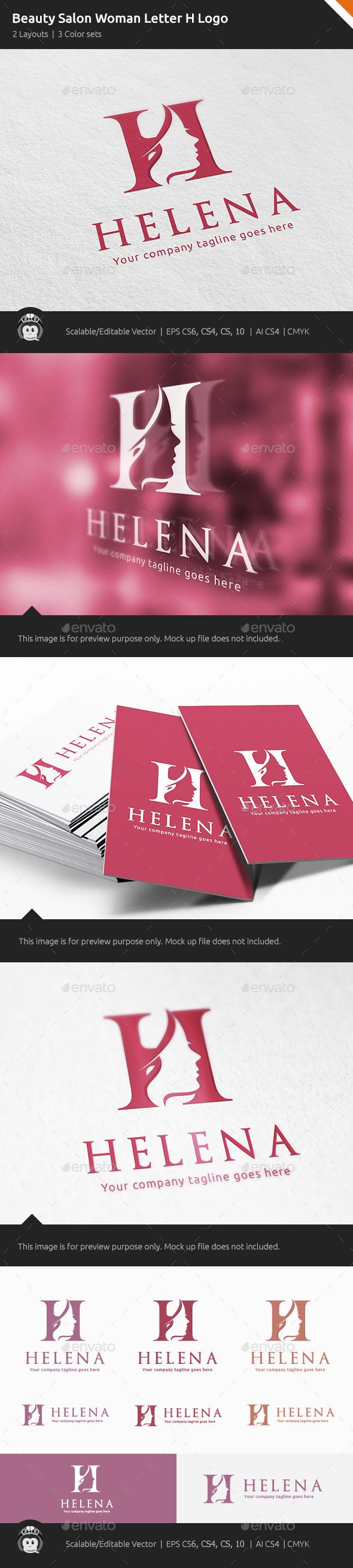 Beauty Salon Woman Letter H - Logo Design Template Vector #logotype Download it here: http://graphicriver.net/item/beauty-salon-woman-letter-h-logo/11262899?s_rank=458?ref=nexion