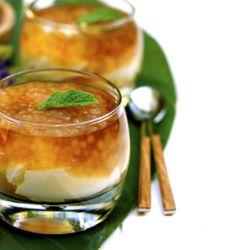Taho: Soft Tofu, Vanilla Syrup & Tapioca in a Glass.  A Philippine street food breakfast.