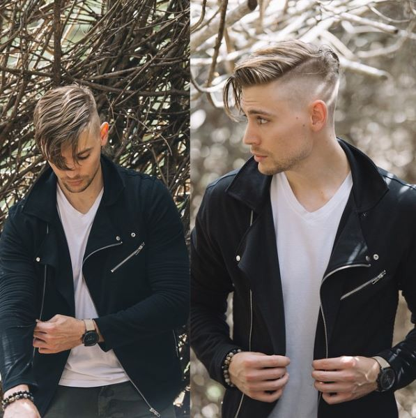 White T-shirt perfectly paired with black jacket dark pants