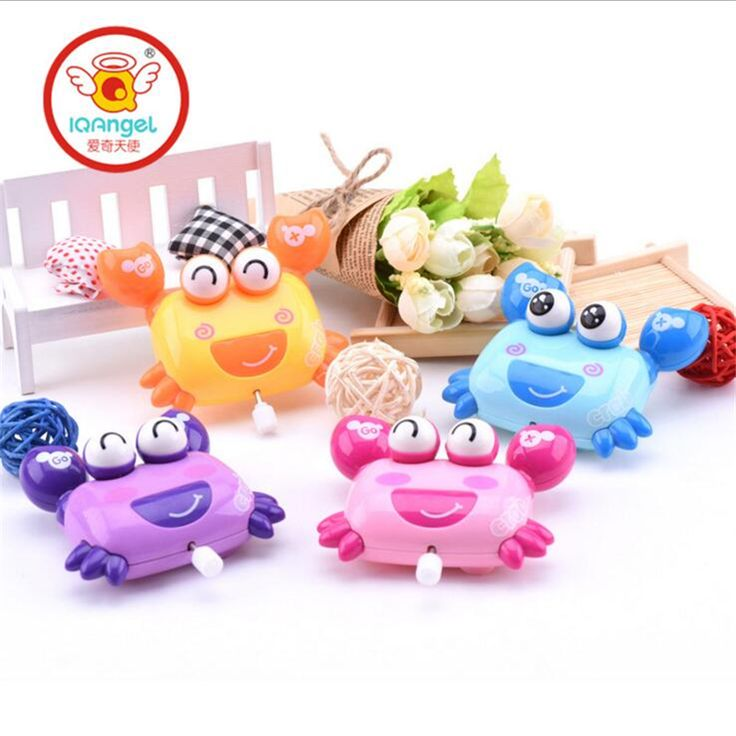 IQANGLE New Hot Colorful Crab Wind Up Toys Clockwork Toy Baby Kid Running Spring Toy Children Newborn Baby Mini Pet Animal