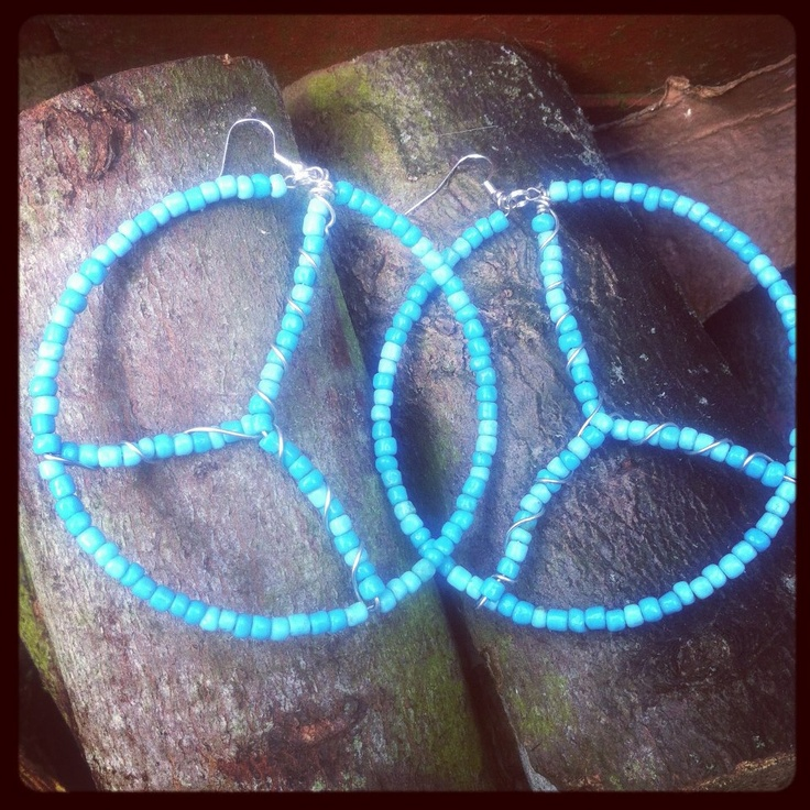 Blue Interpretation of a peace sign earrings