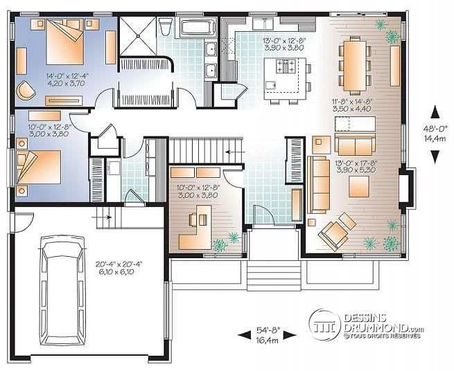 143 best Maison images on Pinterest Ranch home plans, Ranch house - plan maison plain pied  chambres  bureau