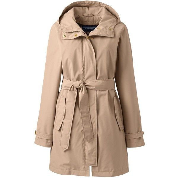 Lands' End Women's Petite Metro Rain Coat (2.121.535 IDR) ❤ liked on Polyvore featuring plus size women's fashion, plus size clothing, plus size outerwear, plus size coats, tan, button coat, tan coat, lands end raincoat, petite raincoat and hooded raincoat