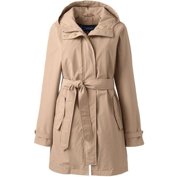 Lands' End Women's Plus Size Metro Rain Coat ($179) ❤ liked on Polyvore featuring plus size women's fashion, plus size clothing, plus size outerwear, plus size coats, tan, lands' end, waterproof raincoat, lands end coats, hooded rain coat and hooded raincoat