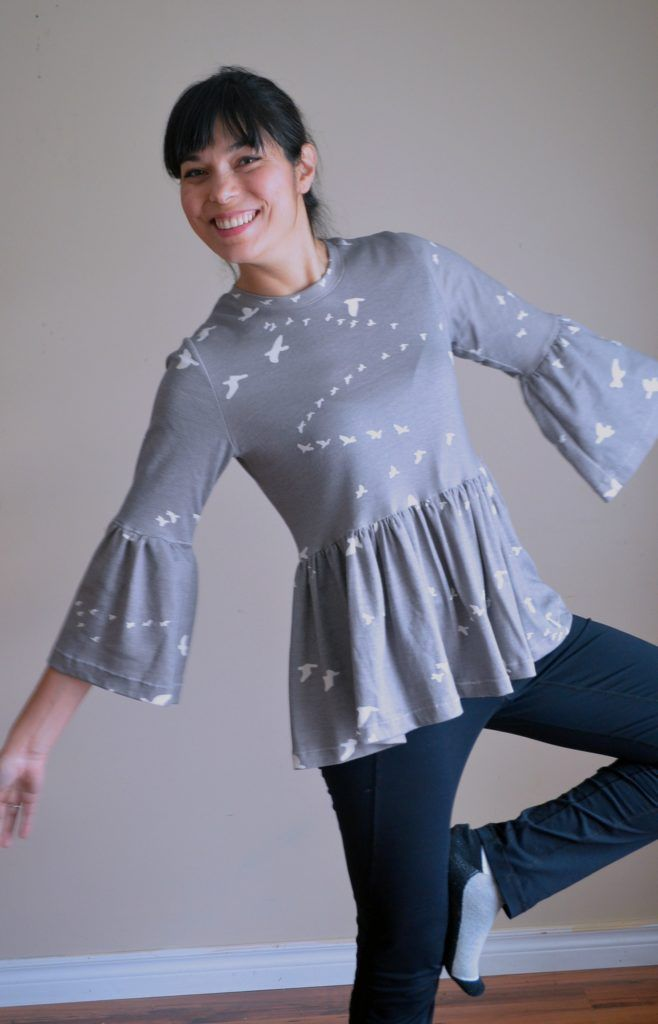 Free Sewing Pattern for women: The Statement Sleeves top pattern is available for a PDF printable download here. Get the easy sewing instructions included in the post as well.