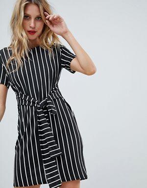 c97a29cf250 PrettyLittleThing Stripe Tie Waist T-Shirt Dress | Black and White ...