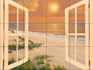 This beautiful artwork by Diane Romanello has been digitally reproduced for tiles and depicts a windowbox with an ocean background.  Beach scene tile murals