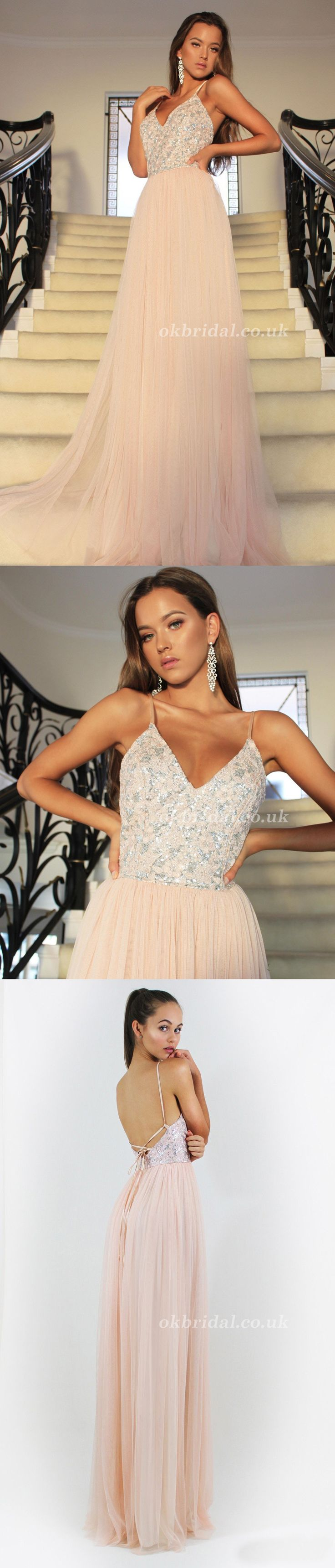 Spaghetti Straps Prom Dress, V-Neck Prom Dress, Tulle Prom Dress, Sequin Evening Dresses, LB0944 #okbridal
