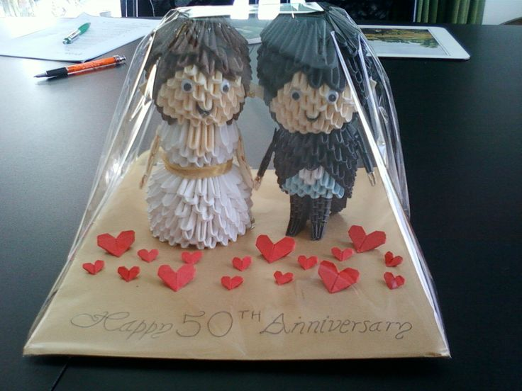 3d origami - bride and groom