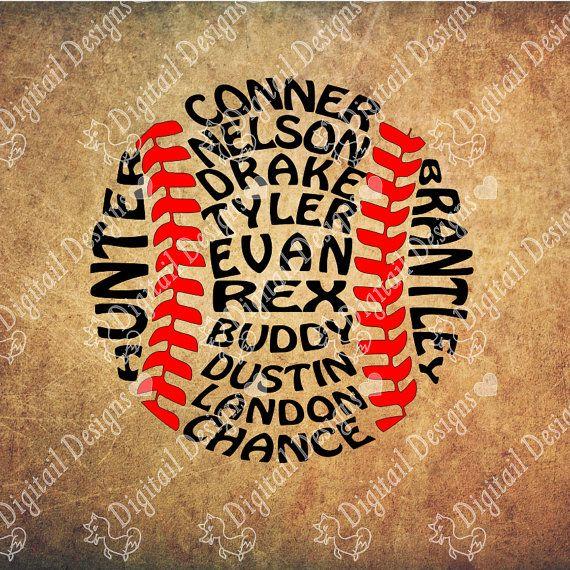 Uw aangepaste honkbal namen Softbal namen Word Art SVG PNG DXF EPS-Fcm Ai gesneden bestand voor silhouet of Cricut. Afdrukbare kunst Coach cadeau svg