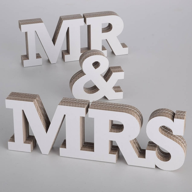 Mr mrs 3 d letters made from fsc approved cardboard for Cheap 3d cardboard letters