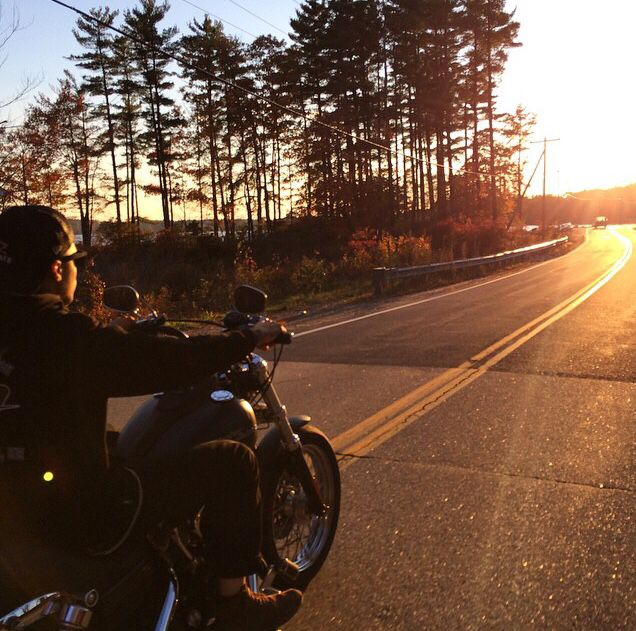 Sunrise, rider, bikes, speed, cafe racers, open road ...