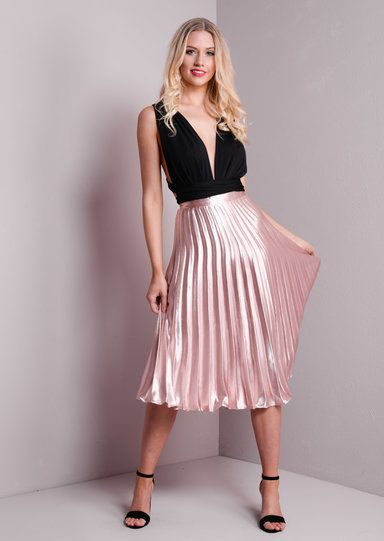 Pleated Satin Metallic Midi Skirt Rose Gold Midi Skirt