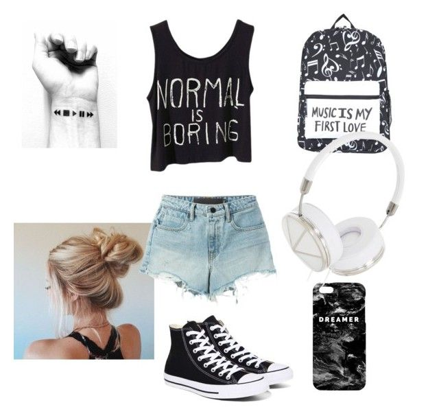 """""""Untitled #16"""" by delenagirl-dream ❤ liked on Polyvore featuring Converse, Mr. Gugu & Miss Go, Frends, T By Alexander Wang, jeanshorts, denimshorts and cutoffs"""