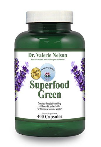 Superfood Green ~ 400 Capsules ~ 9 Cents/Cap ~ Spirulina & Alfalfa - Doctor Developed ~ Extra Large Bottle:   strongSuperfood Greens is a combination of Spirulina and Alfalfa. Dr. Nelson has been using this combination to solve many health issues throughout the years./strong/p strong /strong/p strongUnlike other algaes, the cell wall of spirulinahas high concentrations of mucopolysaccharides, which are easily digested and form glycoprotein complexes that are important in the formati...