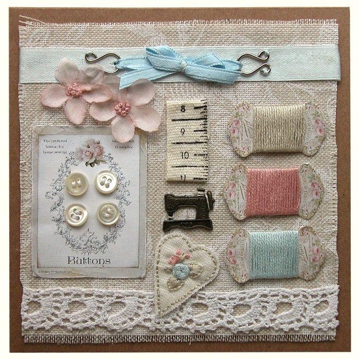 Přání textilní koláž Šicí přání modré : Ostatní přání do obálky : Prodej přáníček : Originální ruční přáníčka