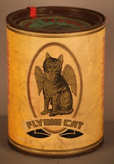 FLYING CAT vintage Ceylon tea tin graphic paper litho top antique store bin sign (03/01/2013)