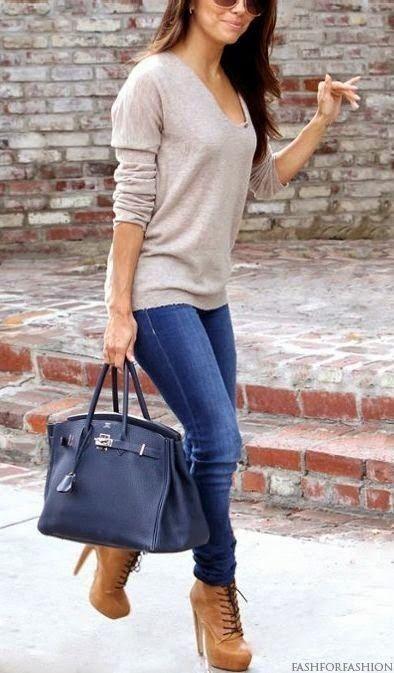 #winter #fashion /  Beige Knit + Navy Tote Bag