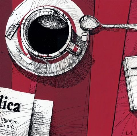 black coffee, cafe, coffee, illustration, lines, sketch