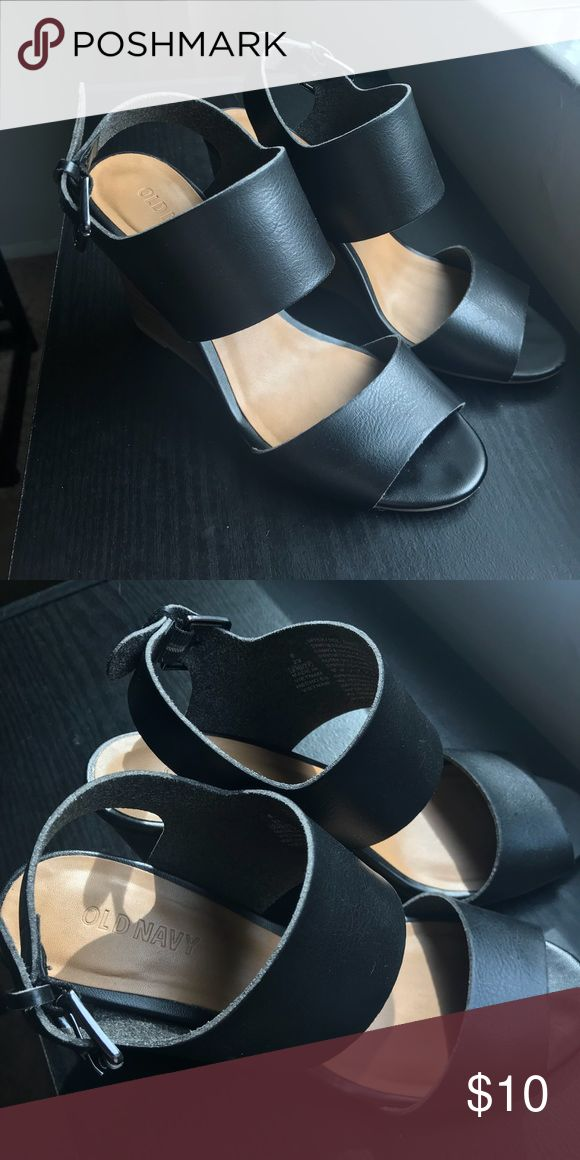 "Old Navy Wedge Sandals. Size 6 Old Navy brand. Black faux leather. 3.5"" wedge.  Worn once (Originally $20) Old Navy Shoes Sandals"